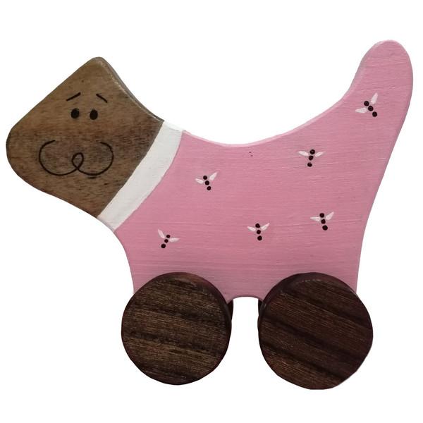 اسباب بازی چوبی مدل گربه چرخدار کد 1039