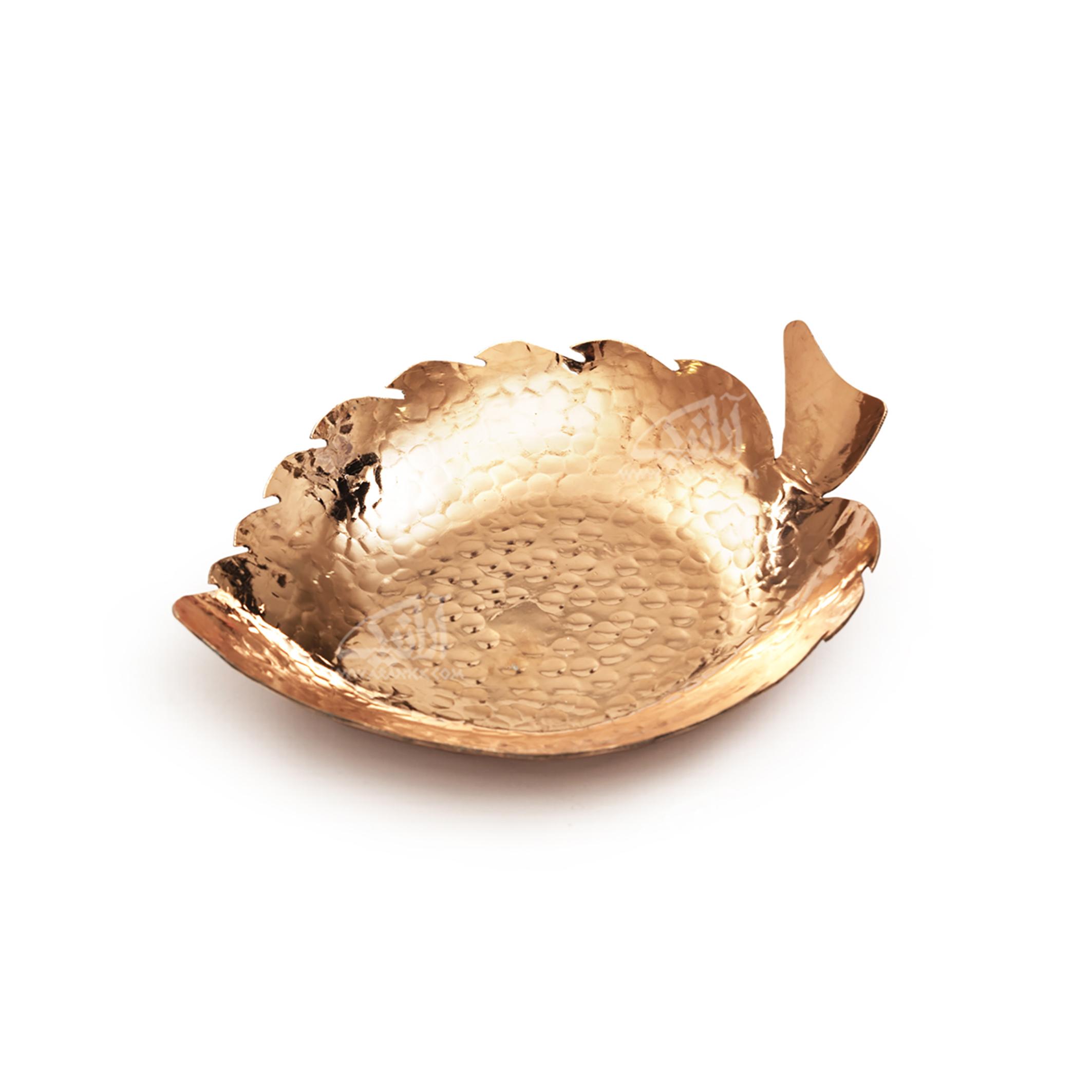 شکلات خوری مسیرنگ مسی طرح برگ  مدل 1001200067