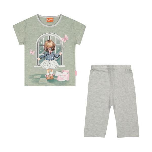 ست تی شرت و شلوار دخترانه بانی نو مدل 2191185-46