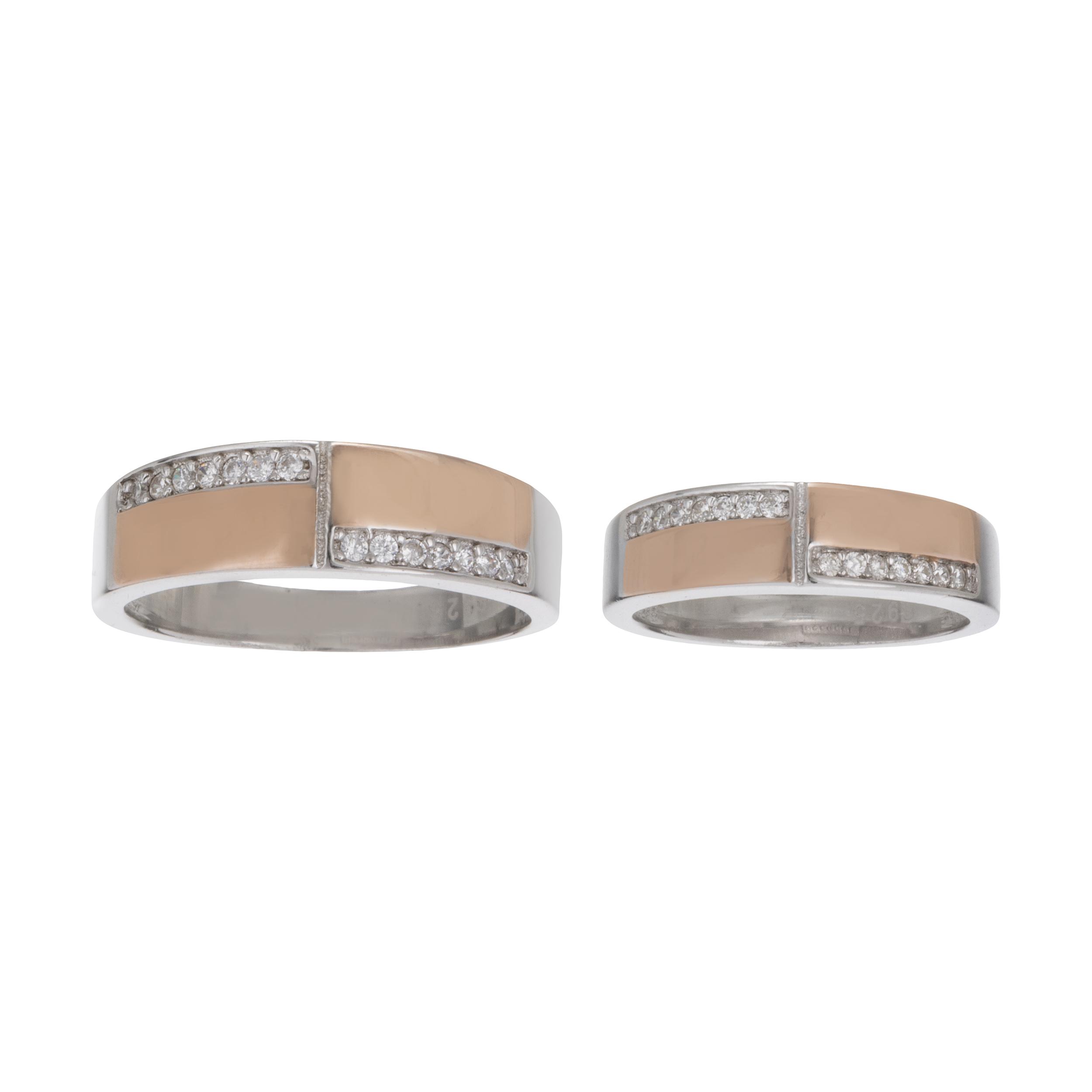 ست انگشتر نقره زنانه و مردانه کد GR1006