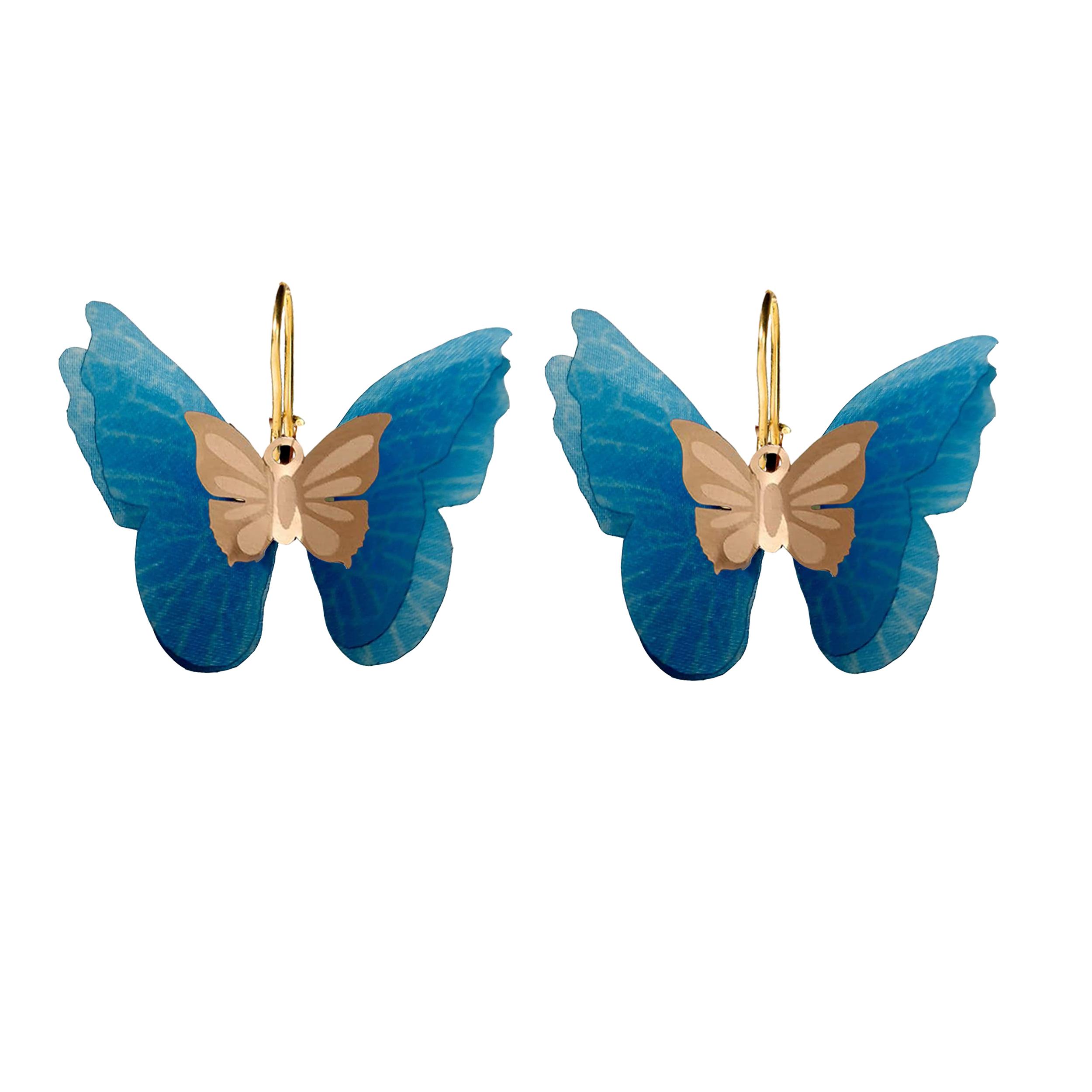 گوشواره طلا 18 عیار زنانه  گالری یارطلا مدل پروانه کد AGP29