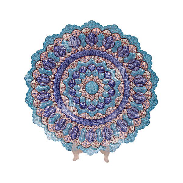 بشقاب مینا کاری گرد  رنگ آبی طرح اسلیمی مدل 1000100012