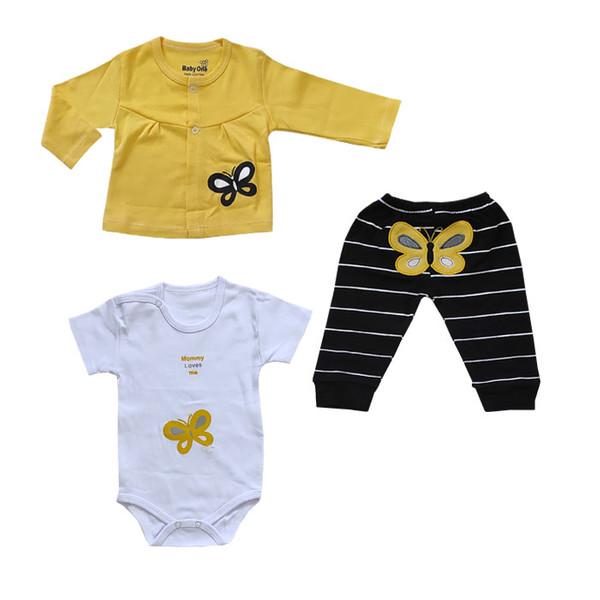 ست 3 تکه لباس نوزادی بی بی وان مدل پروانه کد 317