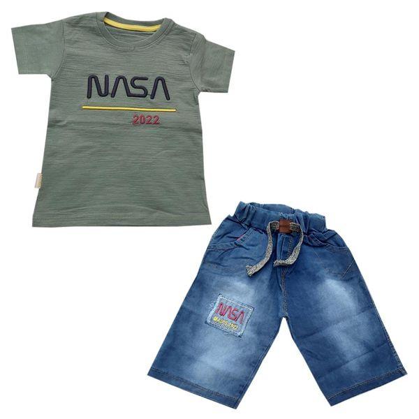 ست تی شرت و شلوارک پسرانه مدل ناسا G