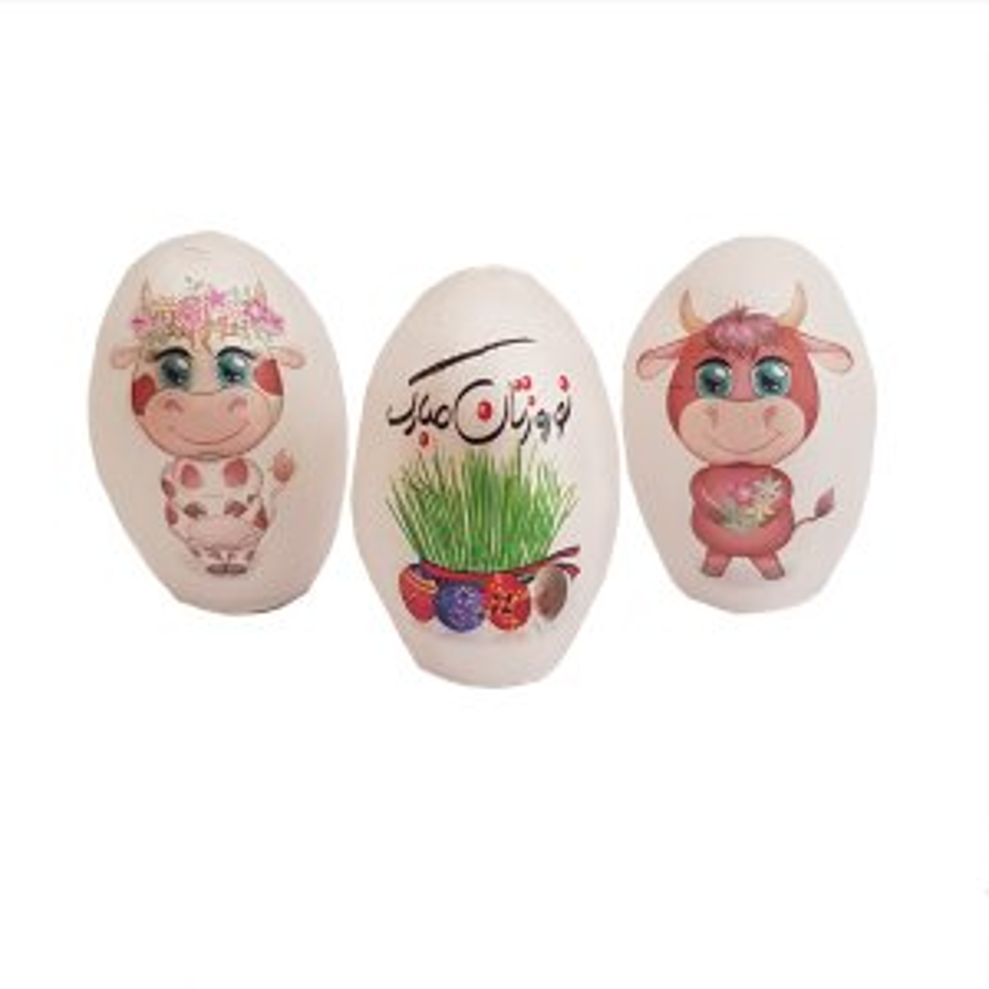 تخم مرغ تزیینی هفت سین طرح گاو کد FF010 مجموعه 3 عددی