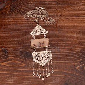 گردنبند ملیله کاری نقره با نگین شجر آرانیک طرح رویش مدل 1510500004