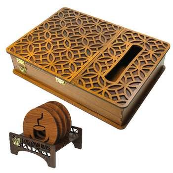 جعبه پذیرایی لوکس باکس کدLB17-01 به همراه زیر لیوانی