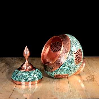 شکلات خوری فیروزه کوب  رنگ فیروزه ای طرح مشبک مدل 1001200023