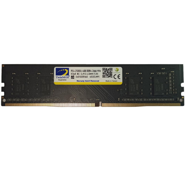 رم دسکتاپ DDR4 تک کاناله 2666 مگاهرتز CL19 تواینموس مدل 4DCS3JMPE  ظرفیت 4 گیگابایت