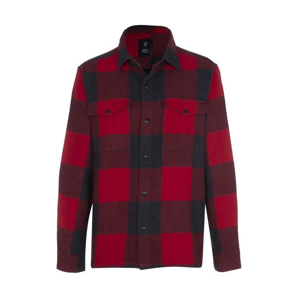 پیراهن آستین بلند مردانه هفت مدل 75471 چهارخانه رنگ قرمز