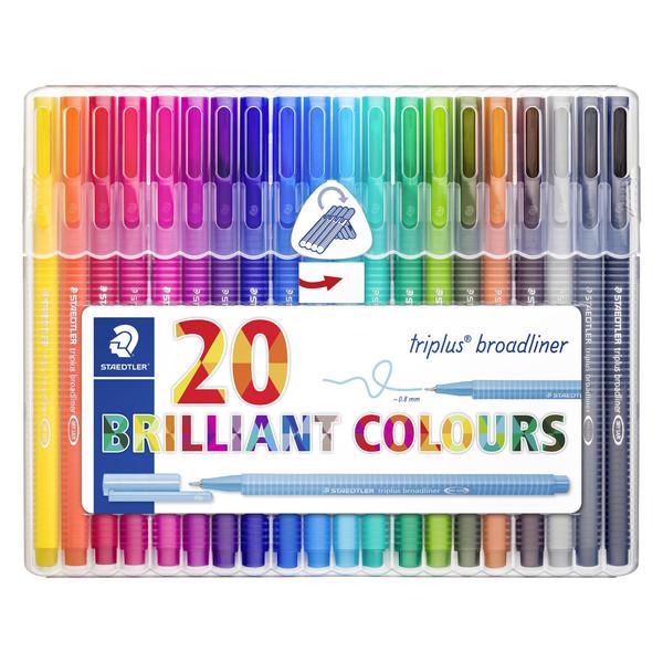 روان نویس استدلر کد 334SB20 مدل Triplus Broadliner Brilliant Colours بسته 20 عددی