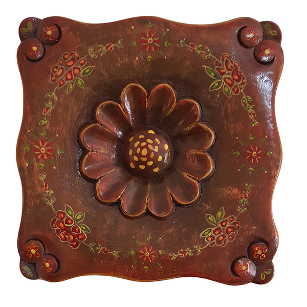 Handmade decorative wooden carving flower design tableau, lotus model, code 01