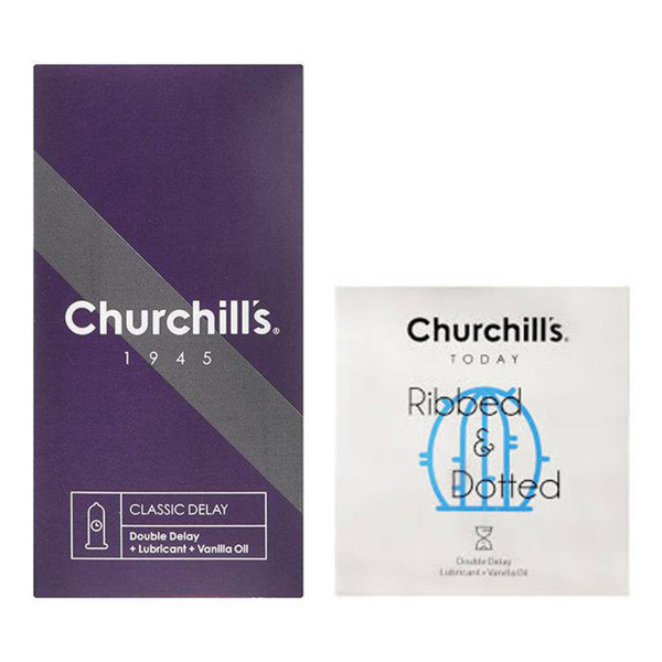 کاندوم چرچیلز مدل کلاسیک تاخیری بسته 12 عددی به همراه کاندوم چرچیلز مدل شیاردار و خاردار بسته 3 عددی