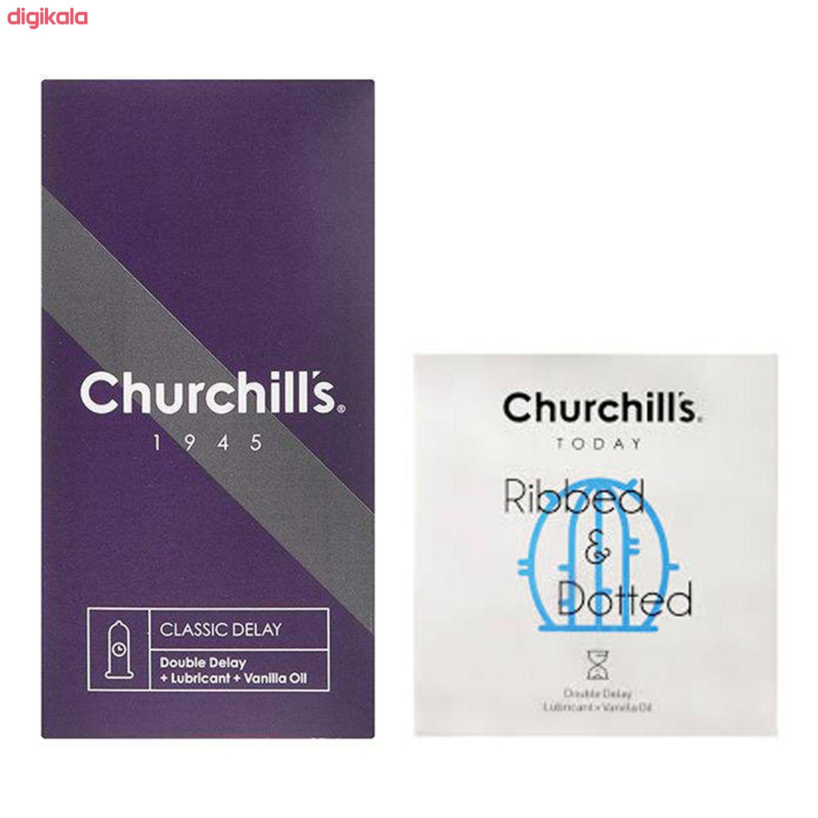 کاندوم چرچیلز مدل کلاسیک تاخیری بسته 12 عددی به همراه کاندوم چرچیلز مدل شیاردار و خاردار بسته 3 عددی main 1 1