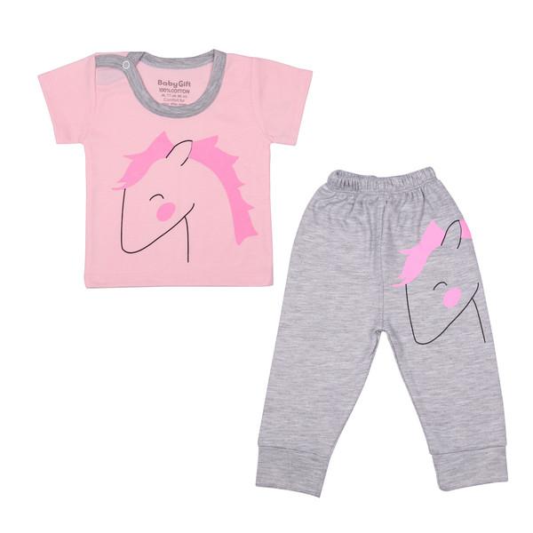 ست تی شرت و شلوار نوزادی دخترانه بی بی گیفت طرح تک شاخ کد ۱۶۰