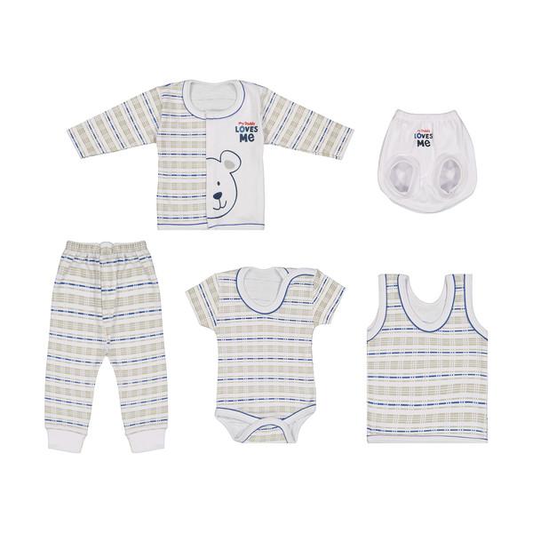ست 5 تکه لباس نوزادی پسرانه طوطی مارک مدل AZ-04