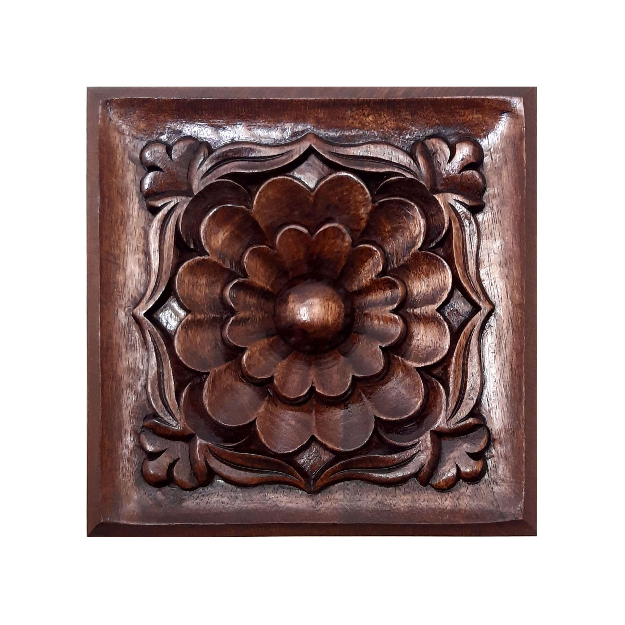 Handmade decorative wooden carving flower design tableau, lotus model, code 2