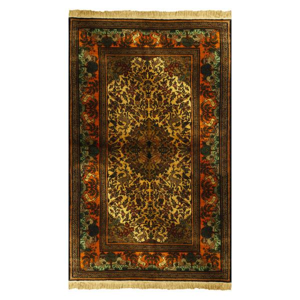 فرش دستبافت ابریشم دو متری طرح جنگل مدل H110