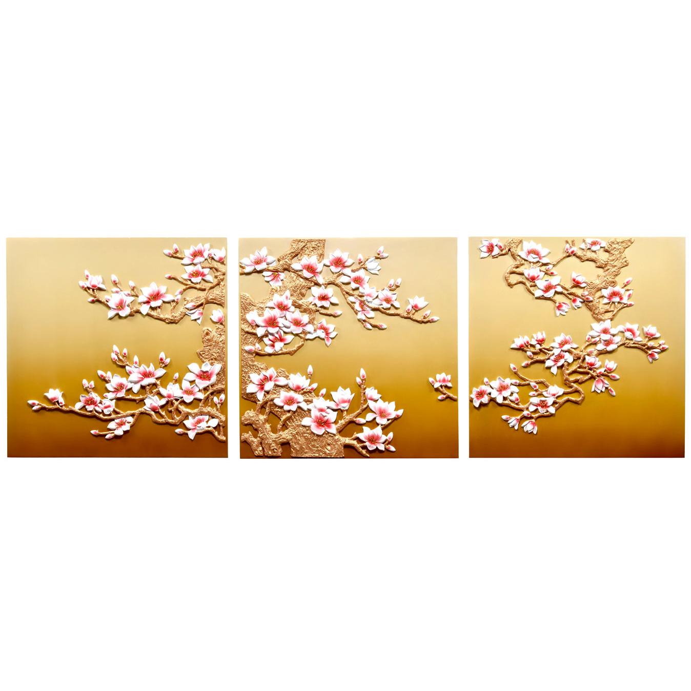 تابلو سه تکه دکوراد مدل درخت شکوفه