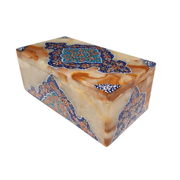 جعبه سنگ مرمر طرح ترنج تذهیب کد 30158-3