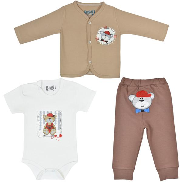 ست 3 تکه لباس نوزادی باولی مدل خرس