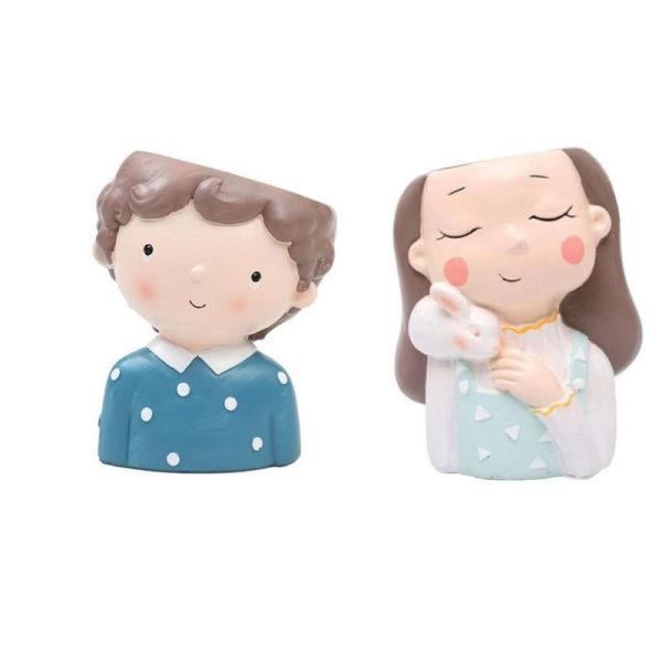 گلدان دکوری طرح پسر و دختر مهربان  مدل mv-106 مجموعه 2عددی