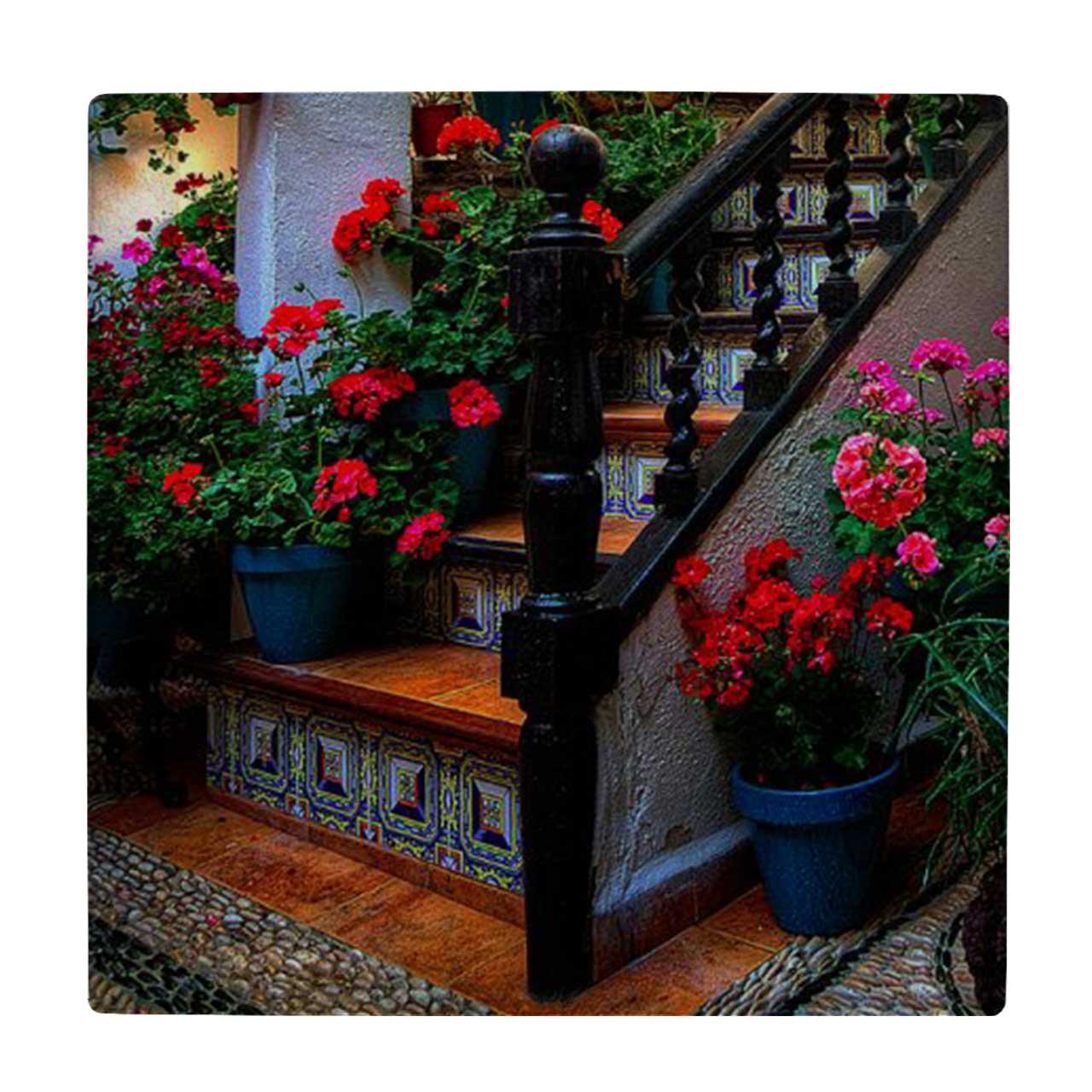کاشی طرح راه پله و گلدان های گل کد wk1318