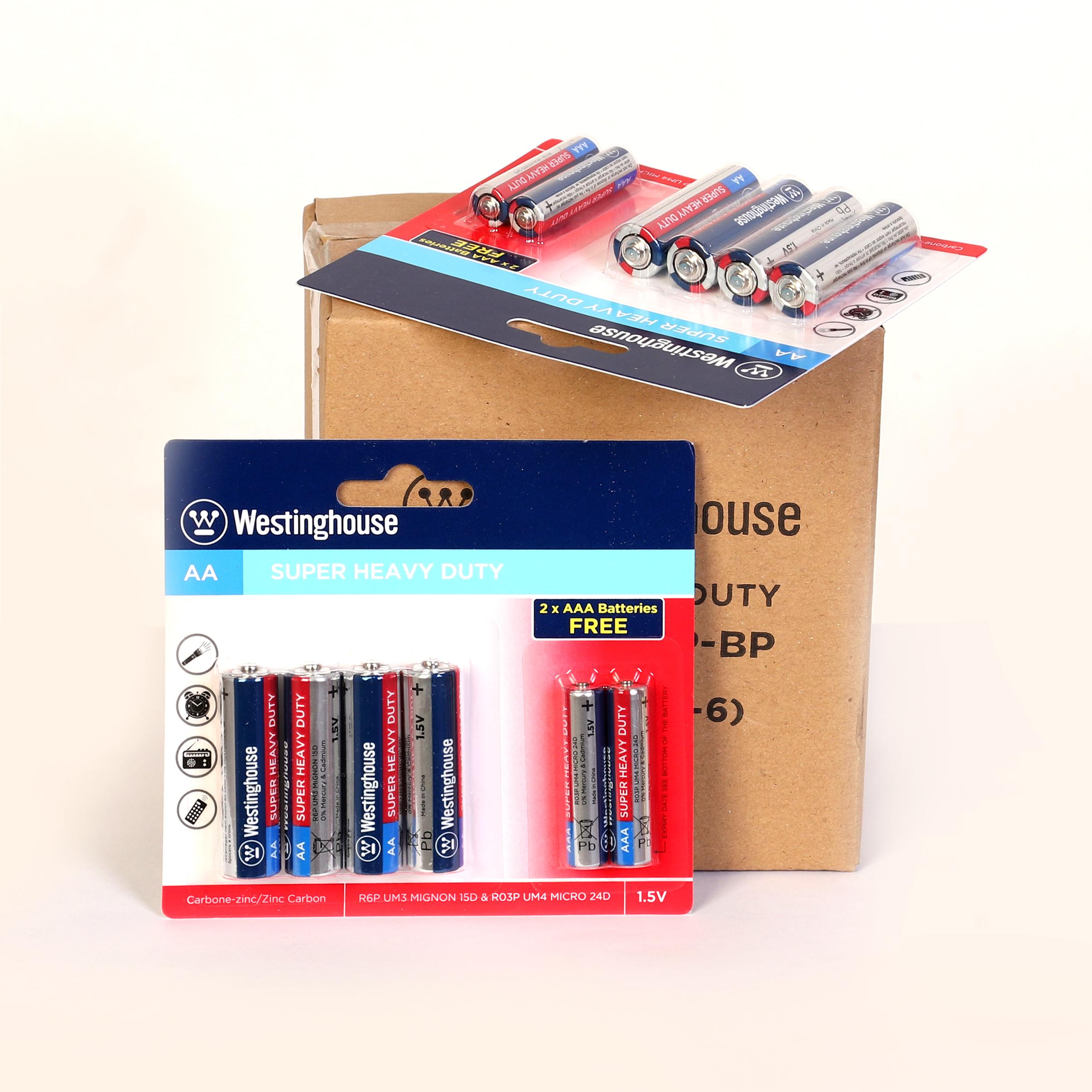 باتری قلمی و نیم قلمی وستینگهاوس مدل R6P R03P بسته 6 عددی main 1 1