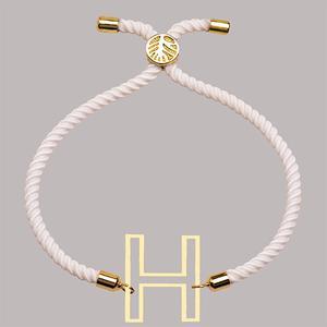 دستبند طلا 18 عیار دخترانه کرابو طرح حرف H مدل Krd1704