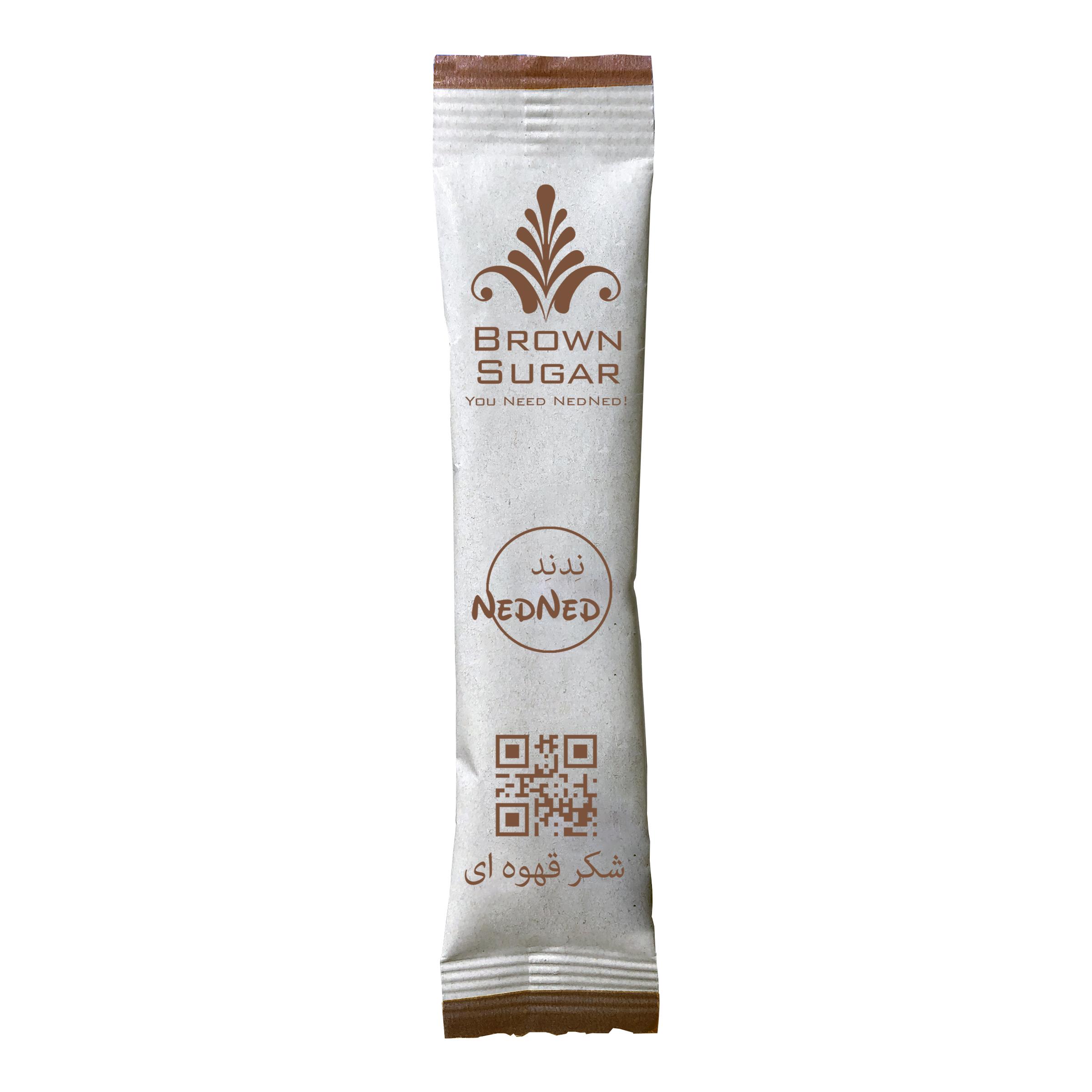 شکر قهوه ای ندند - 5 گرم  بسته 1000 عددی