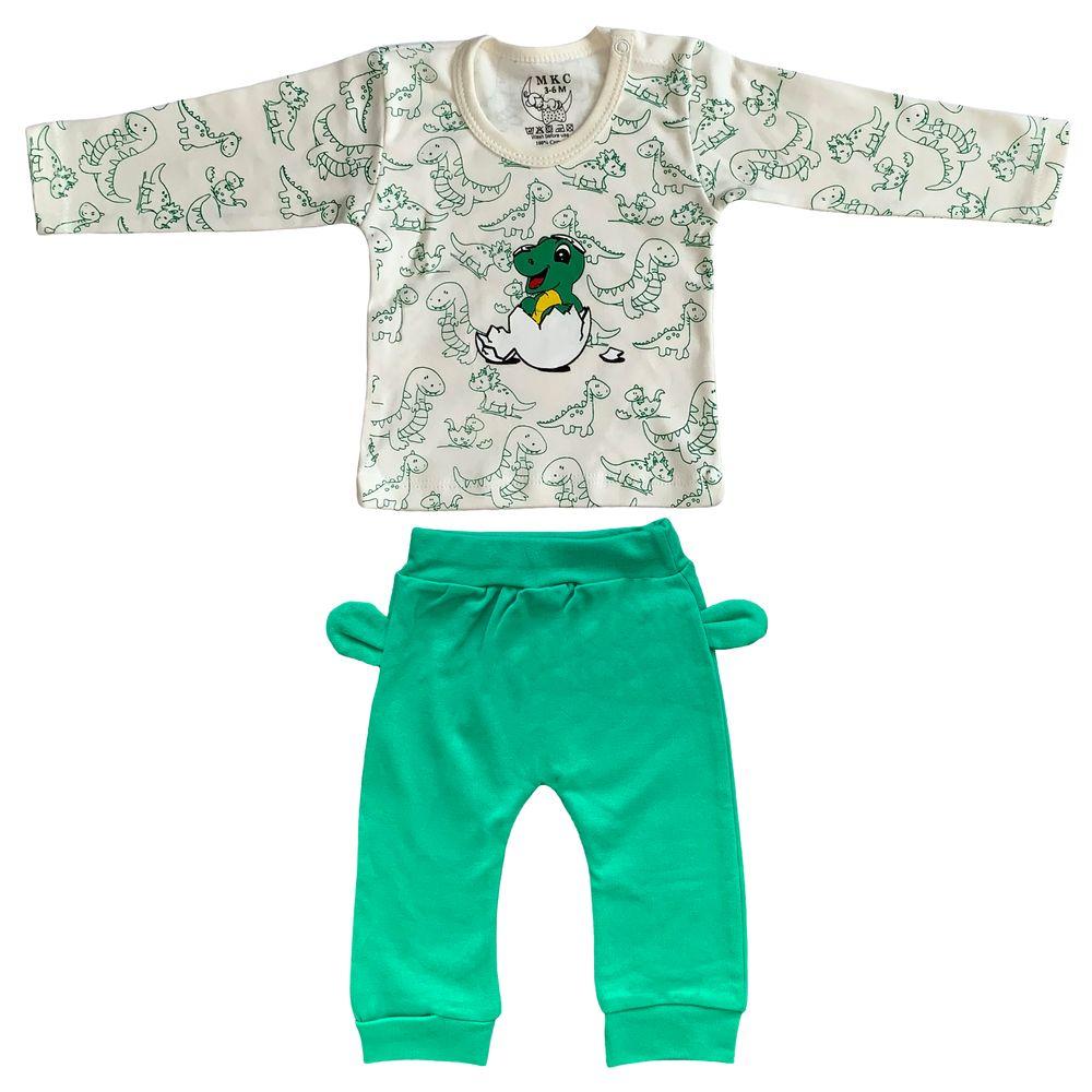 ست تی شرت و شلوار نوزادی طرح دایناسور کد FF-082