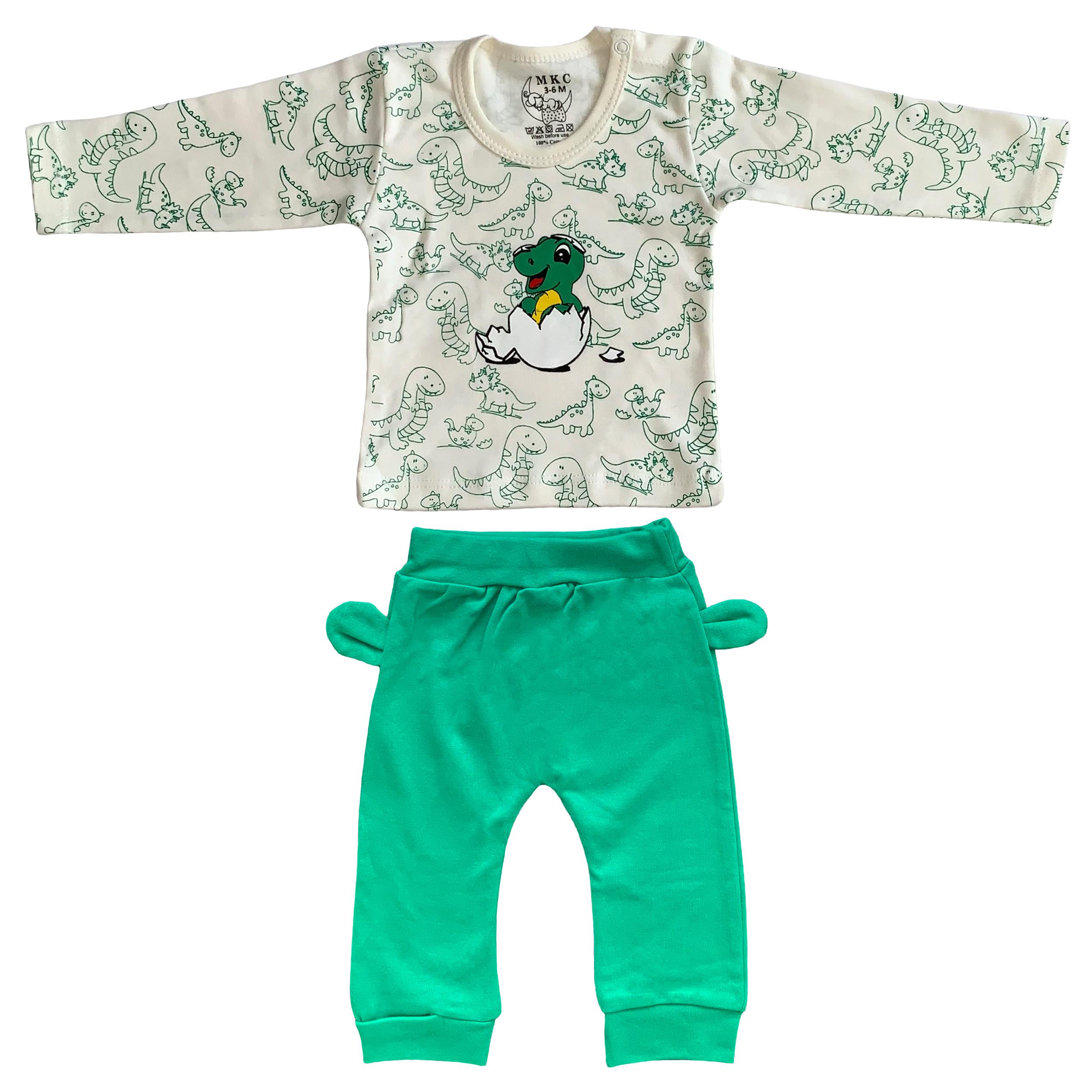 ست تی شرت و شلوار نوزادی طرح دایناسور کد FF-082 -  - 2