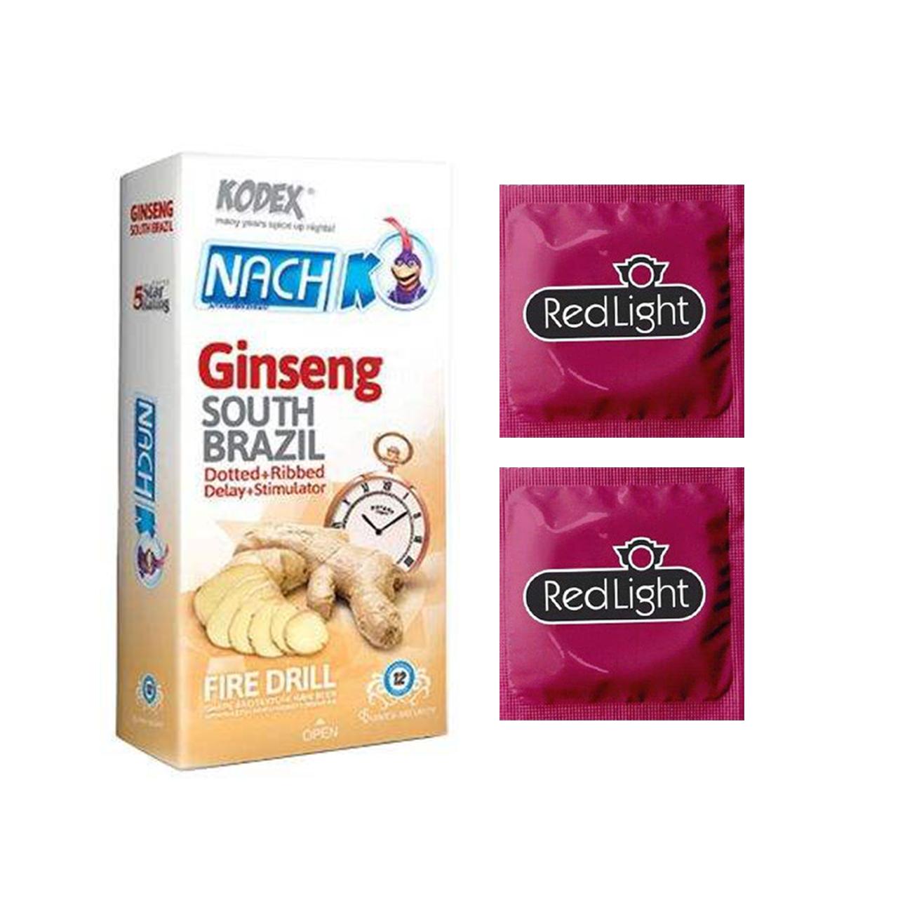 خرید                      کاندوم ناچ کدکس مدل Ginseng بسته 12 عددی به همراه کاندوم ردلایت مدل فویل مجموعه 2 عددی