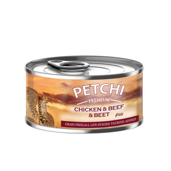 کنسرو غذای گربه پتچی مدل Chicken & Beef وزن 120 گرم