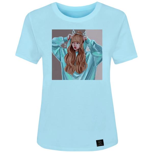 تی شرت زنانه 27 طرح BLACK PINK کد J05 رنگ آبی