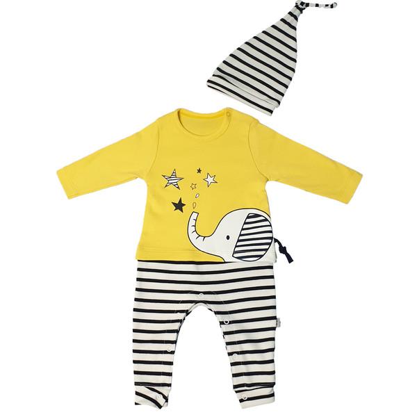 ست سرهمی و کلاه نوزادی وچیون مدل cute elephant