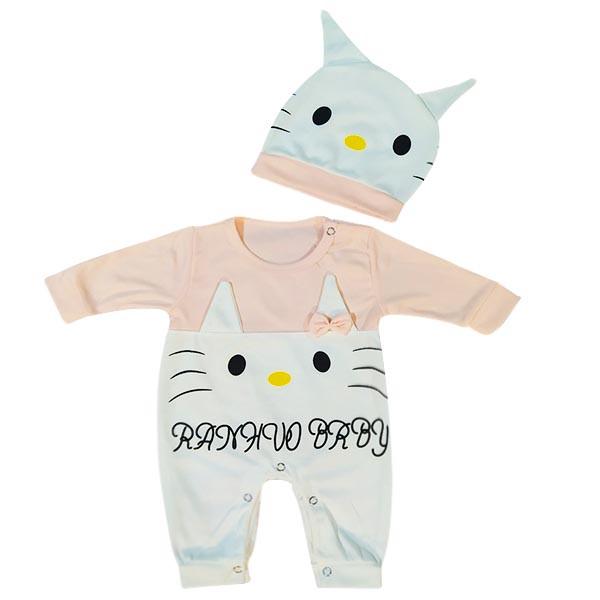 ست سرهمی و کلاه نوزادی دخترانه مدل خرگوش ناقلا رنگ گلبهی