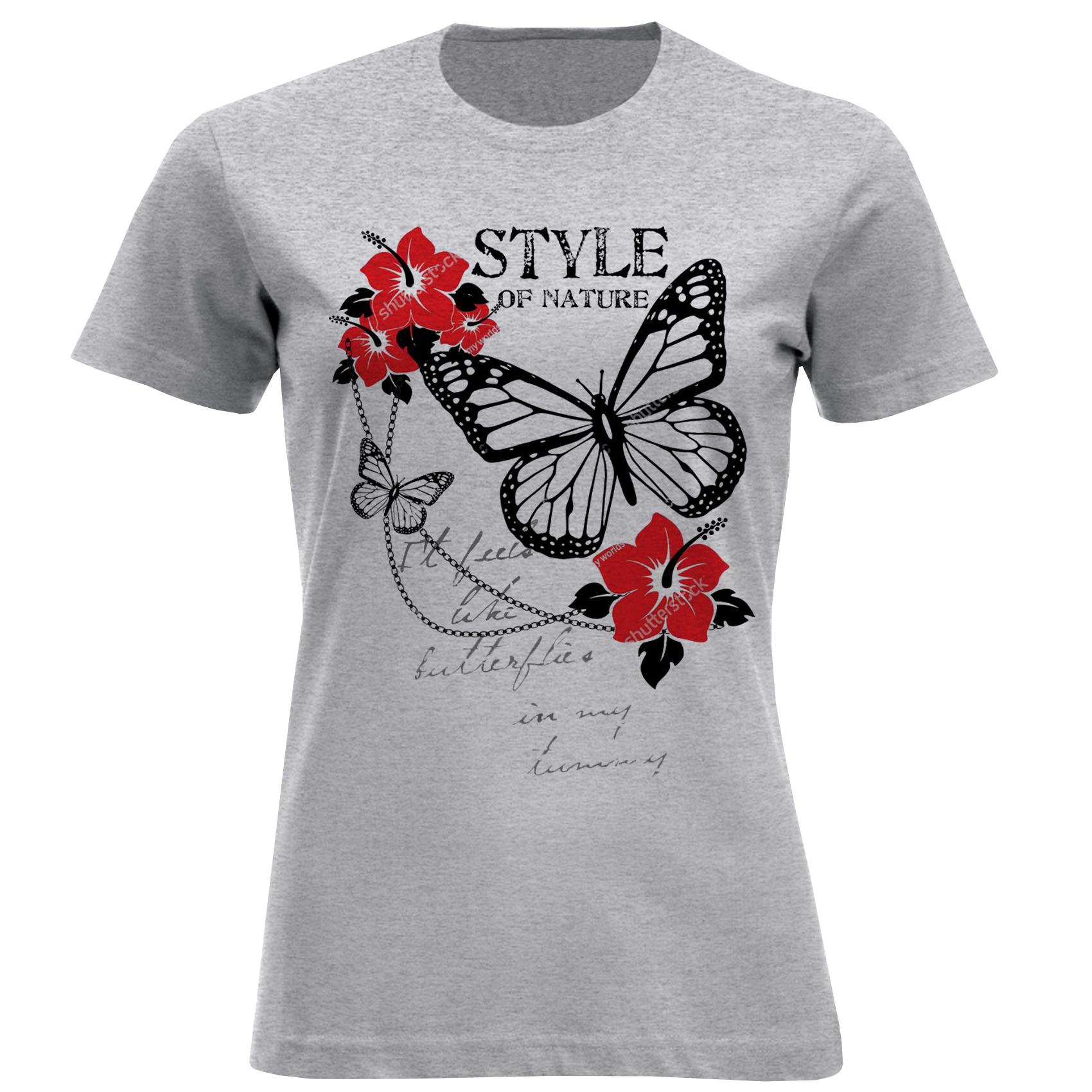 تی شرت آستین کوتاه زنانه مدل گل و پروانه F790
