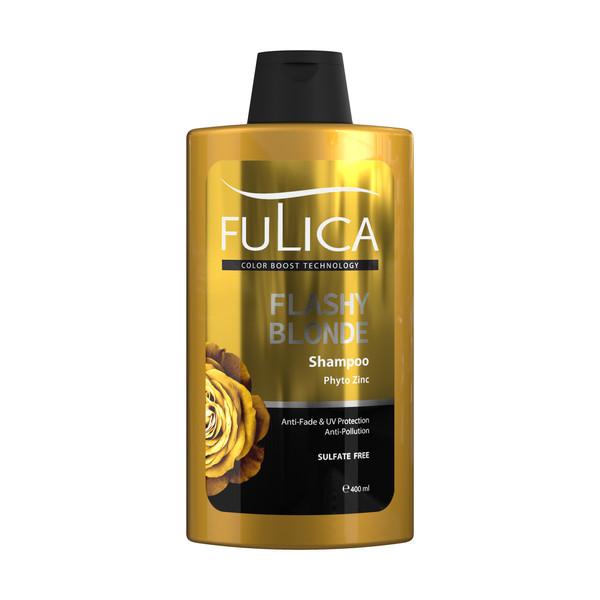 شامپو تثبیت کننده رنگ مو فولیکا مدل FLASHY BLONDE حجم 400 میلی لیتر