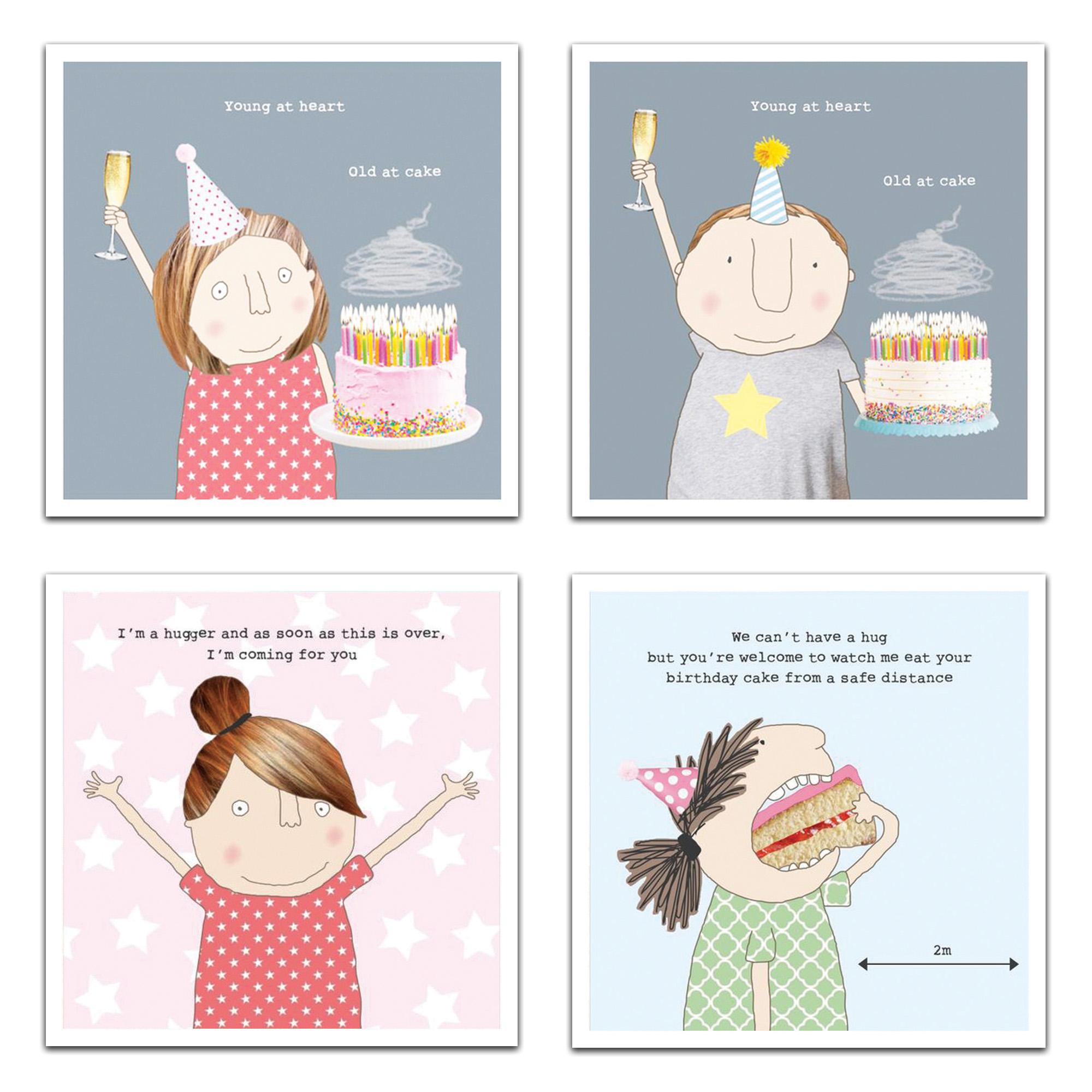 کارت پستال مدل happy birthday مجموعه 4 عددی