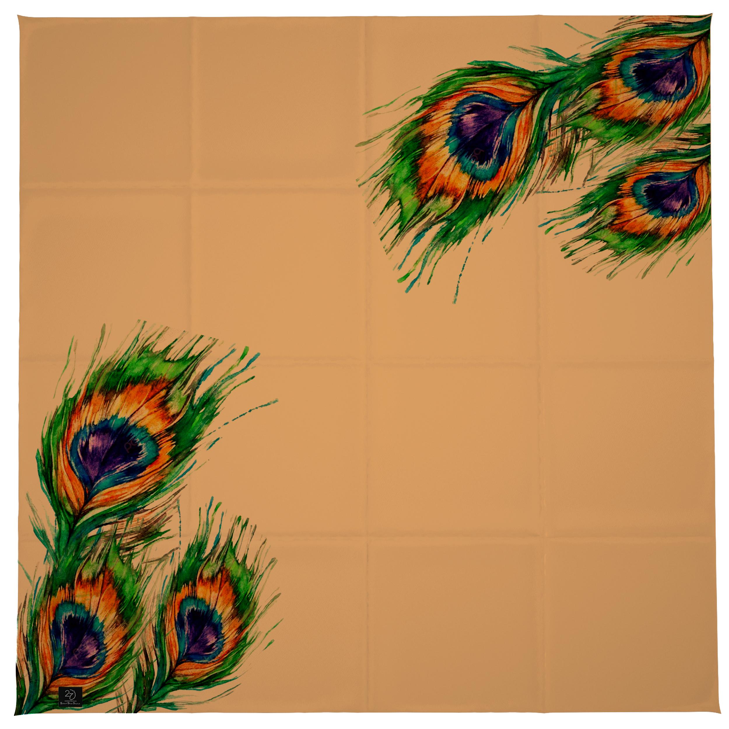 روسری زنانه 27 طرح پر طاووس کد H01 -  - 10