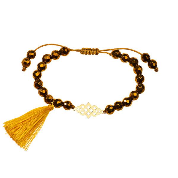 دستبند طلا 18 عیار دخترانه کرابو طرح بی نهایت مدل Krd1043