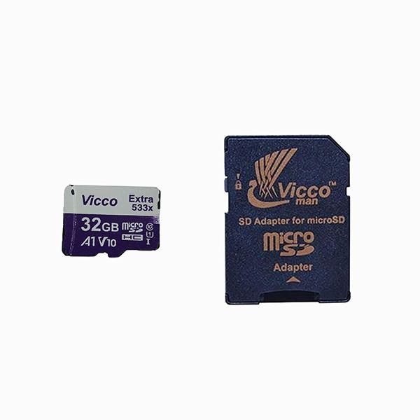کارت حافظه microSDHC ویکومن مدل Extra 533X کلاس 10 استاندارد UHS-I U1 سرعت 80MBps ظرفیت 32 گیگابایت به همراه آداپتور SD