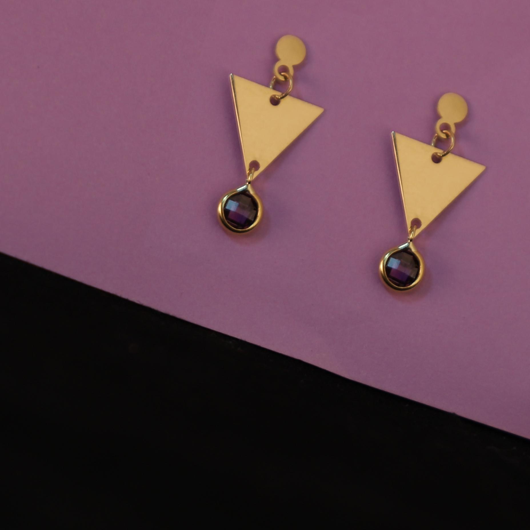 گوشواره طلا 18 عیار زنانه آمانژ مدل مثلث کد D10021