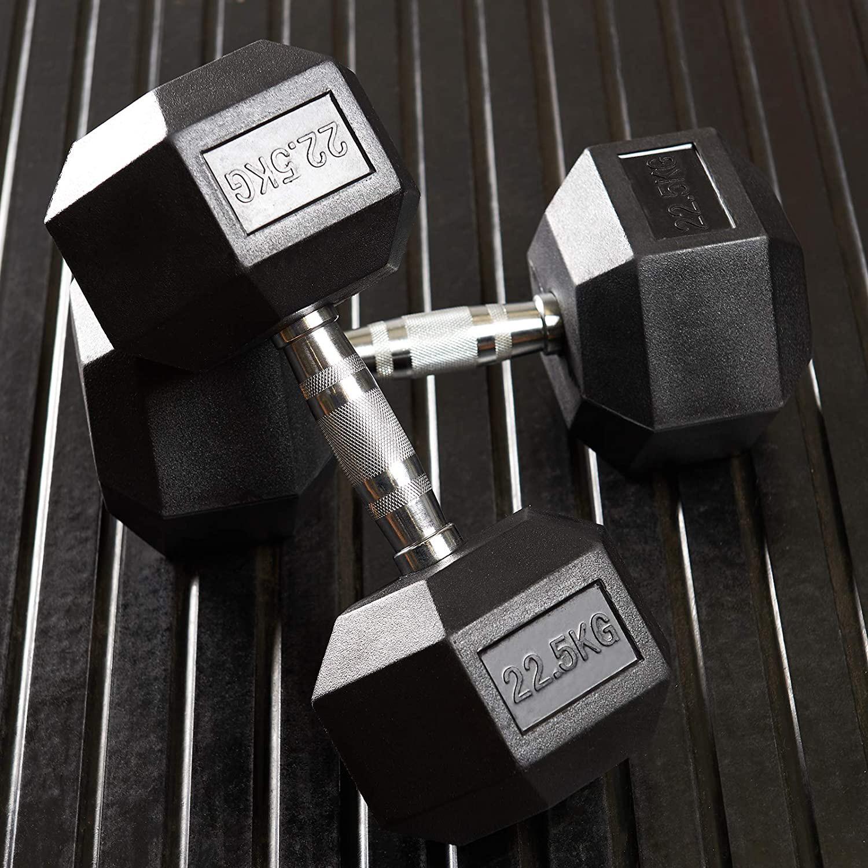 دمبل مدل Rubber1706 وزن 22.5 کیلوگرم بسته 2 عددی