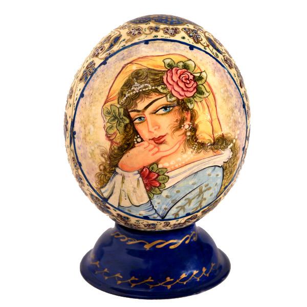 تخم شترمرغ تزئینی طرح زن قاجار کد 747