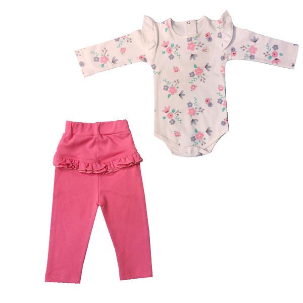 ست بادی و شلوار نوزادی دخترانه مدل گل رنگ صورتی