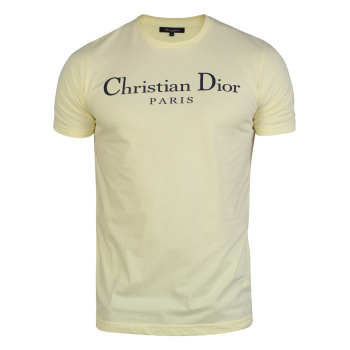 تیشرت آستین کوتاه مردانه مدل  یقه گرد چاپی رنگ لیم...