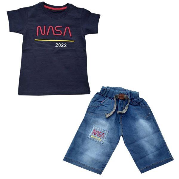 ست تی شرت و شلوارک پسرانه مدل ناسا B
