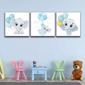 تابلو اتاق کودک و نوزاد آلباتروس طرح فیل مدل M054 مجموعه 3 عددی